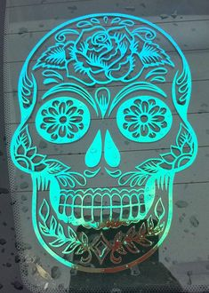 Sugar Skull Car Decal Customization Color Custom Size Intricate Beautiful Day of the Dead Personalize Halloween Fall Autumn Vinyl Decal Custom Car Vinyl Decals, Car Decals, Sugar Skull Artwork, Skull Coloring Pages, Monogram Stickers, Day Of The Dead Skull, Halloween Halloween, Vintage Halloween, Halloween Makeup