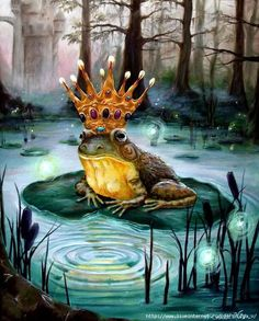 """""""Frog Prince"""" art by Heather Calderon is an acrylic on canvas painting of a frog wearing a crown sitting on a lily pad. Frosch Illustration, Illustration Art, Fine Art Amerika, Framed Art Prints, Canvas Prints, Frog Pictures, Frog Pics, Funny Frogs, Frog Art"""