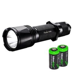 Fenix TK09 450 Lumens Cree XP-G2 (R5) LED tactical tap switch flashlight with 2X EdisonBright CR123A Lithium Batteries. 130mm (Length) x 25.4mm (Body Diameter) x 34mm(Head Diameter). Tactical tail switch with momentary-on function. Bundle includes Two EdisonBright CR123A lithium batteries. 450 Lumens. 130 Lumens. 15 Lumens. Accessories Included: Holster, Lan Yard, Spare O-ring Two EdisonBright CR123A lithium batteries included. 450 Lumen max with Cree XP-G2 (R5) LED.