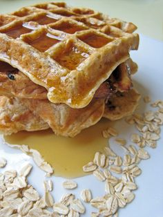 Ms. Ashley's protein waffles Ingredients • 1/2 cup old-fashioned oatmeal • 1/4 cup low-fat cottage cheese (or tofu) • 4 egg whites • 1 teaspoon vanilla extract • 1/4 teaspoon cinnamon • 1/4 teaspoon nutmeg Directions 1. Process the oatmeal, cottage cheese, egg whites, vanilla extract, cinnamon, and nutmeg in a blender until smooth. 2. Spray a nonstick skillet with cooking spray. Add the batter and cook over medium heat until both sides are lightly browned. I do a couple things differently to…