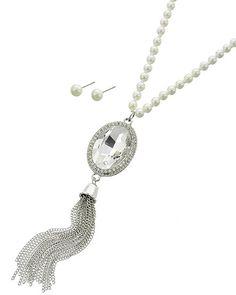 Rhodiumized / Cream Synthetic Pearl / Clear Glass & Rhinestone / Lead&nickel Compliant / Post (earrings) / Long Neck & Earring Set