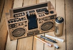 Berlin Boombox: A cardboard boombox you build yourself and can plug in your iPhone, Android or any other MP3 player with a headphone jack.