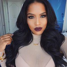 Hair Slayed and Lips poppin  Lips: @liplandcosmetics MONTENEGRO BY @amrezy  Hair: Slayed by @itsmiddy  Wearing @bellamihair jet black bundled hair ---> use MAKEUPSHAYLA code