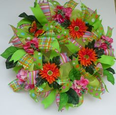 SpringSummer Deco Mesh Wreath with Lime Green by WredWrockWreaths, $65.00