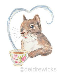 Titre : Écureuils amour café écureuils ont toujours été les amateurs de bon café, mais ces derniers temps ils ont fait des expériences avec du