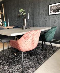 Eetkamerstoel New York - Velvet Stof Groen - Lok Living Accent Chairs, Flooring, Living Room, Retro, Interior, House, Inspiration, Furniture, Home Decor