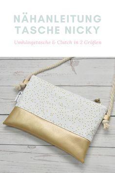 Einfaches eBook zum Nähen für eine Umhängetasche oder Clutch! Mit dem Tau und dem Kunstleder ist diese Tasche ein echter Hingucker!