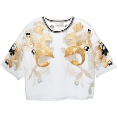 3.1 PHILLIP LIM fish embroidered sheer blouse ($685) ❤ liked on Polyvore featuring tops, blouses, shirts, tees, embroidered blouse, sheer sleeve blouse, sheer white blouse, cream shirt and white kimono