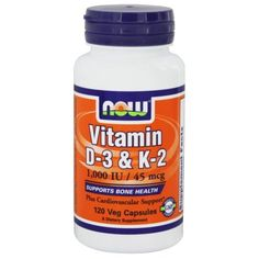 NOW Foods - Vitamin D-3 & K-2 - 120 Vegetarian Capsules