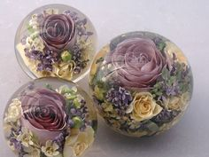 A lovely assortment of bridal flower paperweights