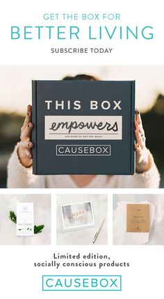 CAUSEBOX partners with amazing companies that are empowering women and creating jobs. Every season, members receive a limited edition curation of products from these leading socially conscious brands. Each box is designed and filled with love from the original artwork on the outside, to the lovingly handmade products on the inside. Subscribe today at causebox.com.