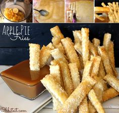 Apple Pie Fries ~ when it comes to desserts, it just doesn't get much better in life than a nice slice of good old, all-American Apple Pie! Perfectly flaky, pretty little, sweet sticks of portable Apple Pie and it's in a 'French Fry' form ready to dip! Yummy Treats, Sweet Treats, Yummy Food, Apple Recipes, Sweet Recipes, Just Desserts, Dessert Recipes, Fried Apple Pies, Snacks