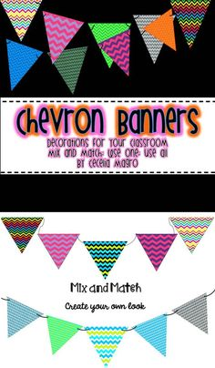 Looking for a way to decorate your classroom? Try these bright colorful banners!    Dress up bulletin boards, walls, posters with these darling banners.  This product includes 80 different banners for you to mix and match.