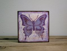 White and Purple Butterfly Wood Art Block by MatchBlox on Etsy, $29.00