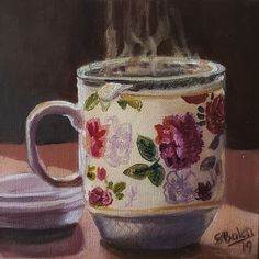 #tee #Romantik #kleineBilder #Gemütlichkeit #Herbst #Malerei How To Make Tea, Create Yourself, Tea Cups, Etsy Seller, Monty Python, Fine Art, Creative, Paintings, Board