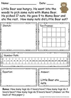 35 Addition & Subtraction Word Problems within 20 ~ For enrichment/extension, a bonus question is included with each problem. Download the preview - for free- to read about why a number path can be more helpful than a number line for young problem solvers.
