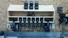 Cordless drill storage and charging station – DIY projects for everyone! Workshop Storage, Shed Storage, Garage Storage, Diy Storage, Diy Shelving, Lumber Storage, Storage Cart, Storage Ideas, Wood Shop Projects