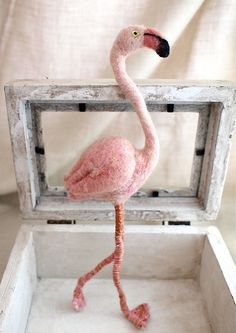Needle felted Flamingo via Flickr.