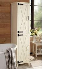 Trendy farmhouse barn door space saver and cabinet allow you to utilize your storage space wisely without sa.Decorate Now, Pay Later with Country Door Credit! Sliding Cupboard, Barn Door Cabinet, Laundry Room Bathroom, Bathroom Ideas, Bathrooms, Downstairs Bathroom, Bath Ideas, Bathroom Furniture, Dog Storage