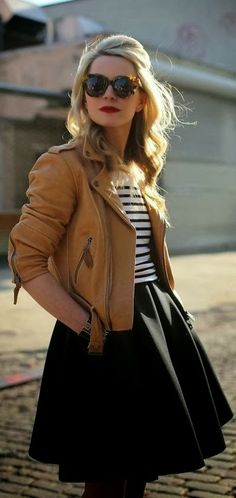 Gorgeous Brown Leather Jacket, Black Lined Blouse and Black Skirt