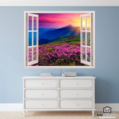 Wall mural Flowers and mountains. Spectacular sunset over mountains with a beautiful meadow full of pink flowers. Wall Stickers, Decals, Decoupage Box, Window Wall, Framed Art, Poster Xxl, Sweet Home, Wallpaper, Frames