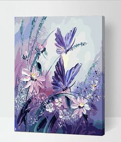 Handmade Frameless Picture Painting By Numbers DIY Digital Oil Paintings On Canvas Home Decoration wall Colorful butterfly HY780