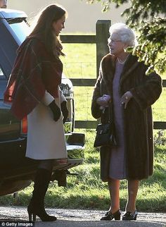 The Queen and Kate at Sandringham, Dec. 25, 2013. Headed out for a Communion Service earlier in the day.
