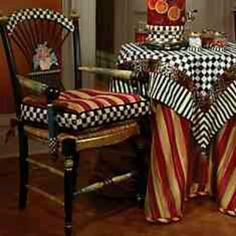 Mackenzie Childs table cloth yellow/red striped with black/white checks!! LOVE