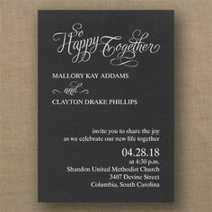 Happy Together - Classic Invitation - Choose Your Color - Wedding Invitations - Wedding Invites - Wedding Invitation Ideas - View a Proof Online - #weddings #wedding #invitations