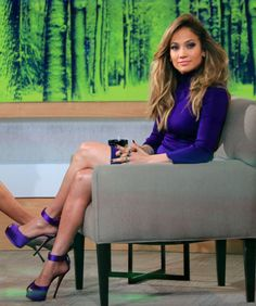 I love the purple shoes!  Jennifer Lopez Works Purple For Smoking Appearance On 'Good Morning America'