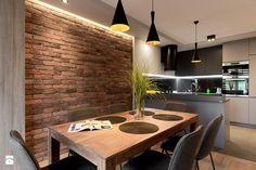 Dom Ruda Śląska - Jadalnia - zdjęcie od www.archigrafia.com dining room inspiration | design | kitchen | modern | brick