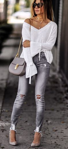 d770dc01e02a Off the shoulder white top with gray jeans. Street Fashion