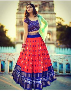 Half Saree Lehenga, Indian Lehenga, Saree Dress, Half Saree Designs, Lehenga Designs, Saree Blouse Designs, Saree Wearing Styles, Saree Styles, Bridal Anarkali Suits