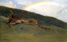 Rainbow over a Fallen Stag - Albert Bierstadt