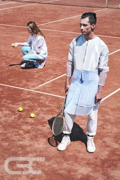 Tennis court, sportswear, fitness, sport luxe, unisex, trends, sheer jacket, grey jacket, white pants, blue skirt, teal pants, campaign shooting. Order via facebook, pm or e-mail.