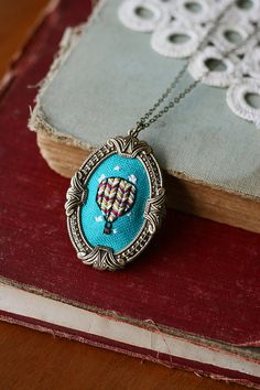 My Beautiful Balloon hand embroidered necklace hot by PoppyandFern