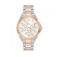 Γυναικείο οικονομικό ρολόι JCou JU19040-3 Aurora με ημερομηνία, ημέρα, ασημί καντράν & δίχρωμο μπρασελέ   Γυναικεία ρολόγια JCou ΤΣΑΛΔΑΡΗΣ στο Χαλάνδρι #jcou #Aurora #μπρασελε #tsaldaris Michael Kors Watch, Watches, Accessories, Wrist Watches, Wristwatches, Tag Watches, Watch, Watches Michael Kors