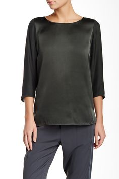 Long Sleeve Button Silk Crew Blouse by VINCE. on @nordstrom_rack