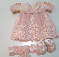 Pink Dress Set | Pink Baby Dress | Pink Lace Dress | Pink Toddler Dress | Pink Baby Shoes | Dress with Matching Headband | Dress and Shoes