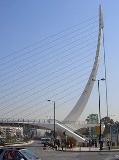 Pedestrian bridge at Katehaki metro station. Designed by Santiago Calatrava