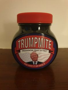 Marmite Trumpmite Edition This is not an official Marmite product, item is handmade. Contains Bovril. Marmite Recipes, Vintage Posters, Jar, Jars, Glass
