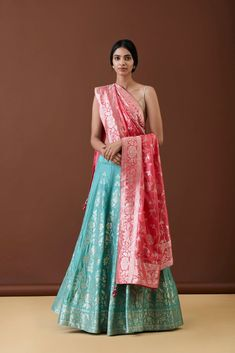Looking to Shop Banarasi Lehengas Delhi? I have put down every single store you need to visit for lehengas and sarees with prices! Half Saree Lehenga, Banarasi Lehenga, Saree Dress, Brocade Lehenga, Gown Dress, Anarkali, Indian Dress Up, Indian Gowns Dresses, Bridal Dresses