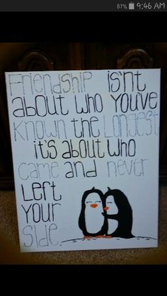 Best friends painted penguin canvas