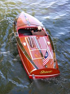 """1940 16' Chris-Craft Special Race Boat. Notice the """"hood scoop"""".  This is for sale for $77,500."""