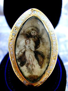 Georgian Mourning Ring Painted Miniature Angel by KittysJewelryBox