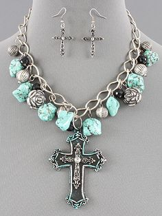 Western Cross Turquoise N Roses Set