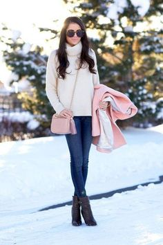 Click for cute new ways to wear your basic skinny jeans (like with white and pink this winter).