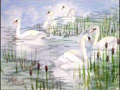 swan scene watercolor tutorial - YouTube