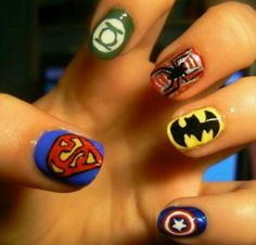 Super hero nails #geekgirl #nailart #nerdy #fun
