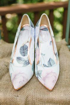 floral wedding shoes - http://ruffledblog.com/high-school-sweetheart-greenhouse-wedding